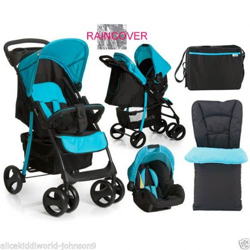 Hauck Shopper SLX Shop n Drive Travel System (Caviar/Aqua) Complete with Footmuff, Changing Bag & Raincover